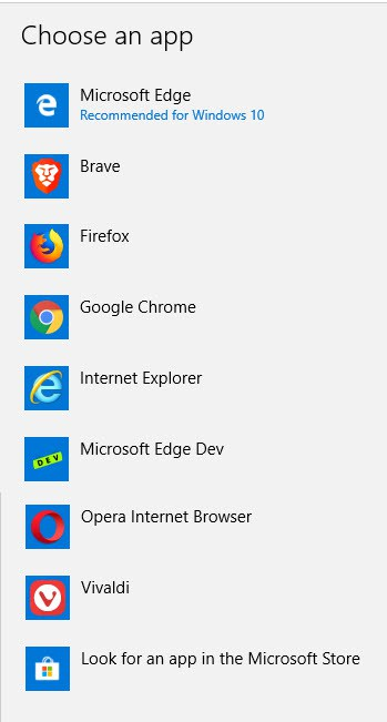 Click Microsoft Edge to display a list of the installed web browsers