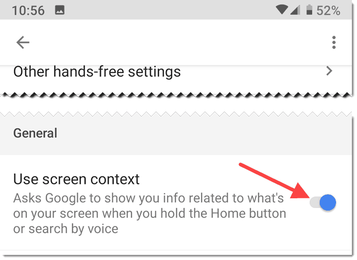 Toggle Use screen context on