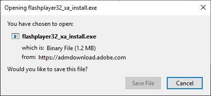 Opening flashplayer32_xa_instal.exe