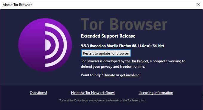 Restart to update Tor Browser