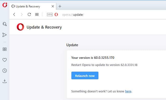 restart Opera to update