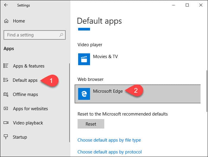 click Default apps then Web browser
