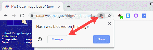 unblock Flash content in Google Chrome. Click blocked icon then Manage