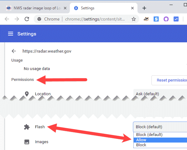 unblock Flash content in Google Chrome. Site settings Permissions Allow