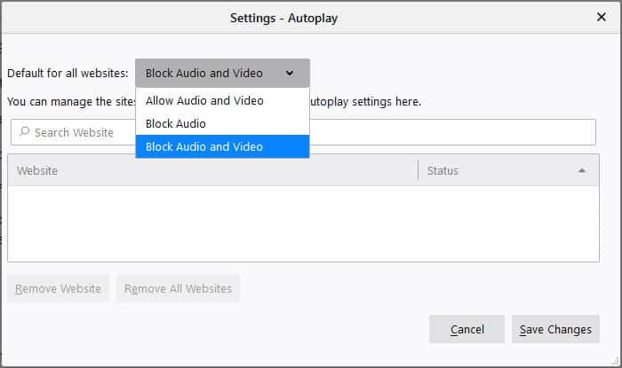 Firefox Autoplay Settings