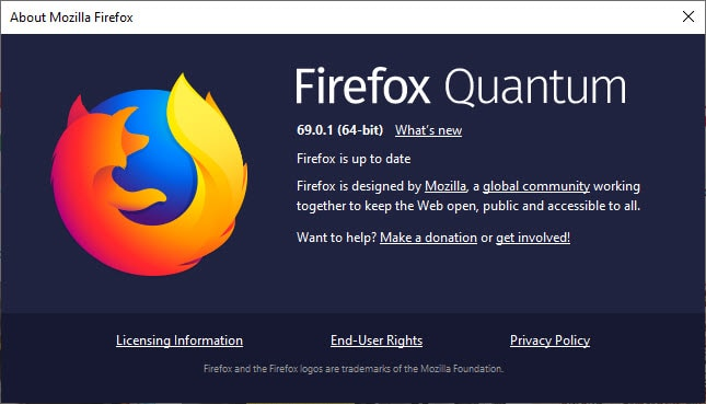 Firefox is up to date