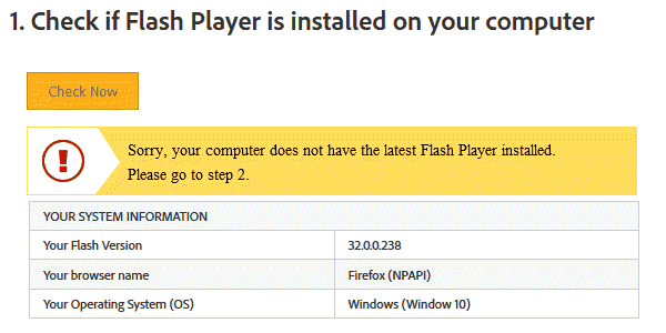 Your computer does not have the latest Flash Player installed
