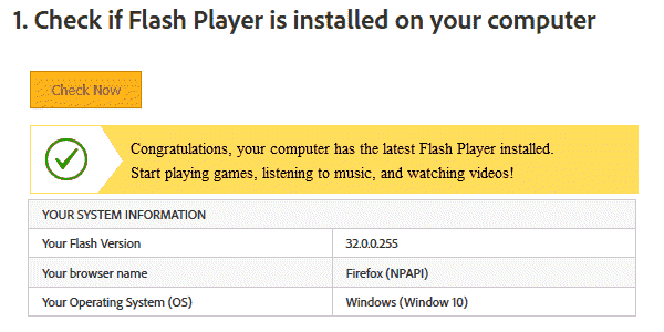 Congratulations, your computer has the latest Flash Player installed.