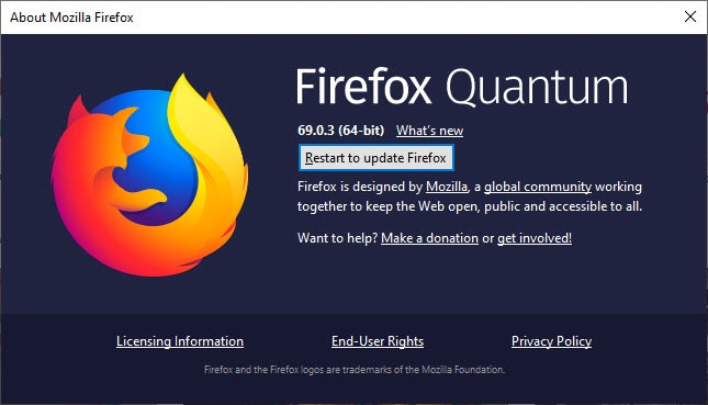 Restart to update Firefox