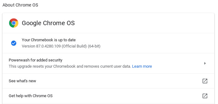Your Chromebook is up to date