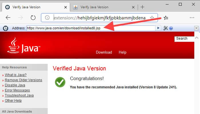 Verified Java Version