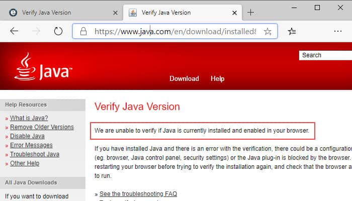 unable to verify Java