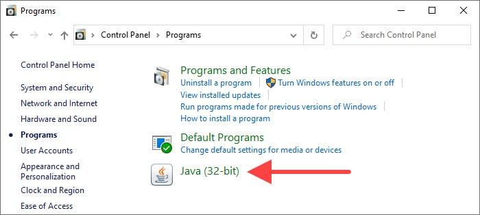 Control Panel Java