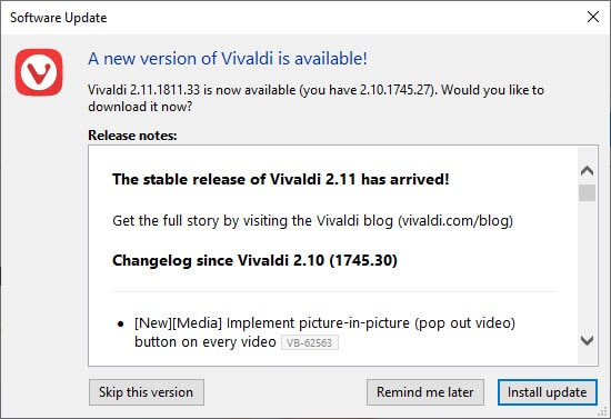 A new version of Vivaldi is available