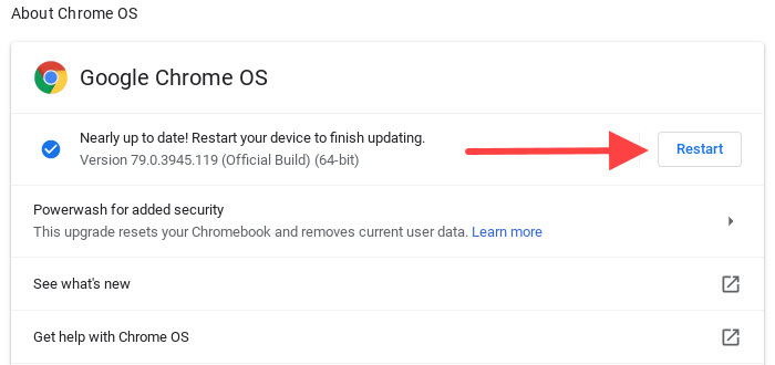 Nearly up to date. Restart your device to finish updating.