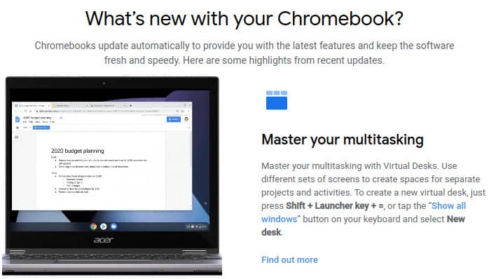 What's new with your Chromebook