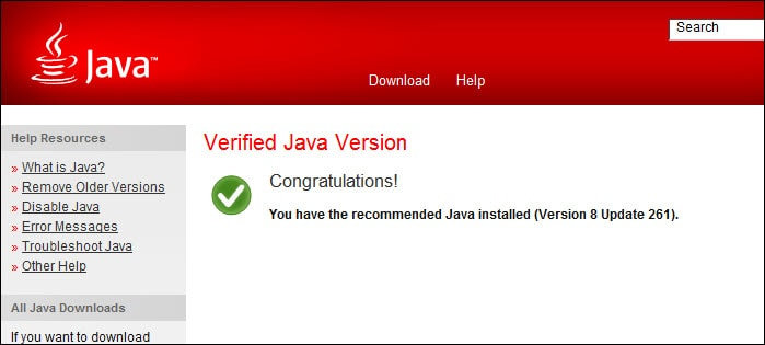 recommended Java version installed