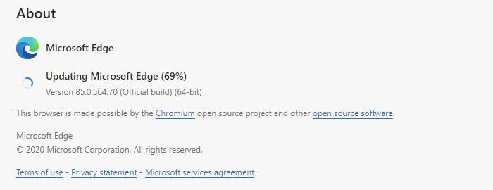 Updating Microsoft Edge